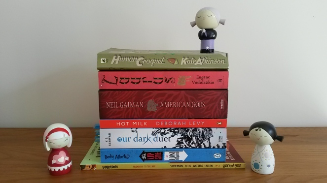 Birthday book haul red stack with momijis