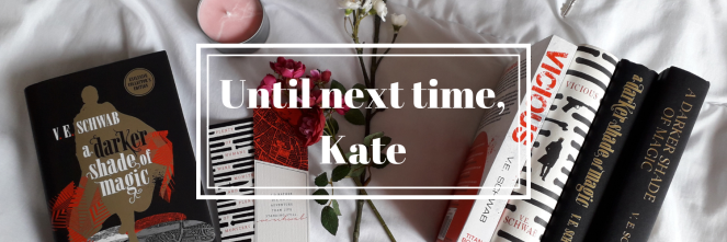Banner with books in the background and the text 'Until next time, Kate' in the foreground.