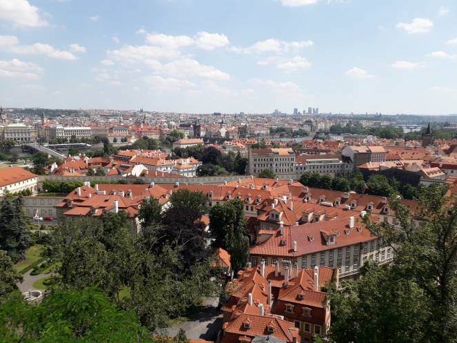 Photo looking down over the rooftops of Prague