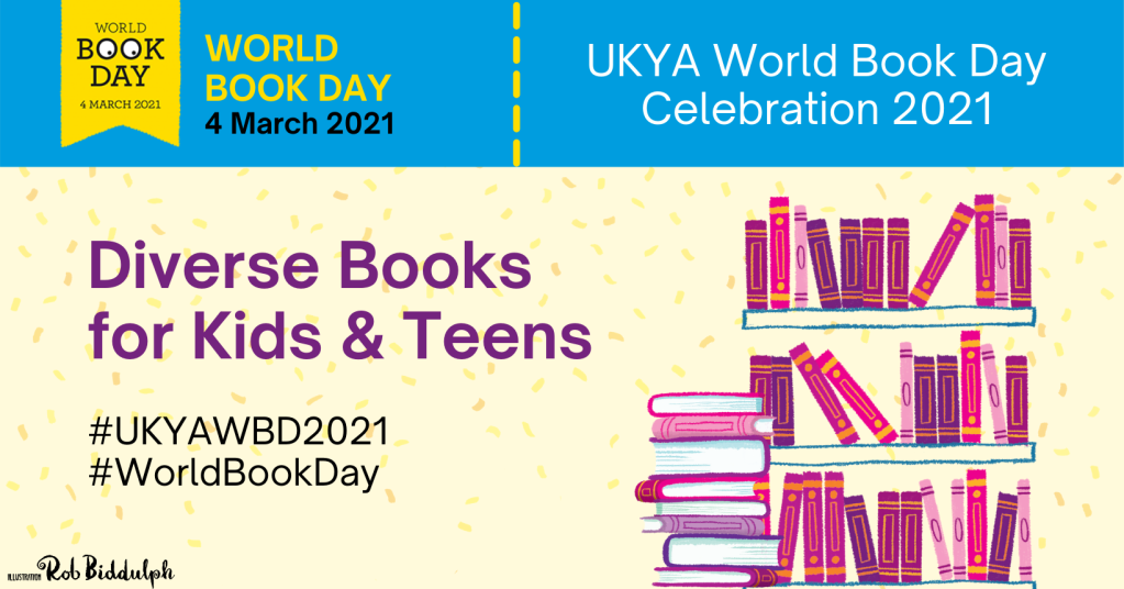 Banner for World Book Day with text 'Diverse books for kids & teens' on the left and a pink and purple stack of books on the right.