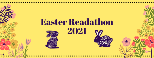 Yellow banner with pink, yellow, and green flowers at the bottom. The text reads: Easter Readathon 2021 with two illustrated rabbits underneath.