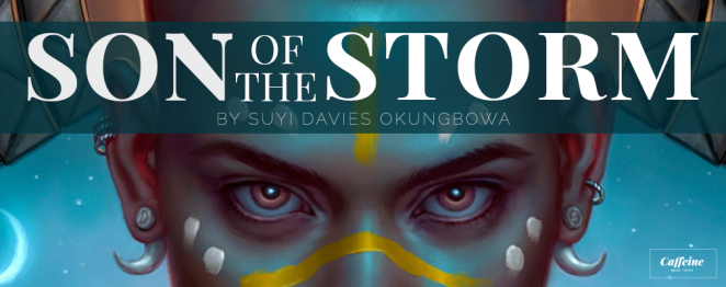 Son of the Storm banner with title and cropped version of the book cover