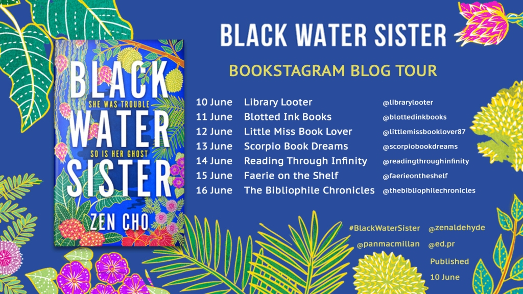 Blog tour banner for Black Water Sister listing each blog and the date of each tour stop